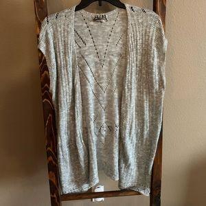 Gray knit kimono